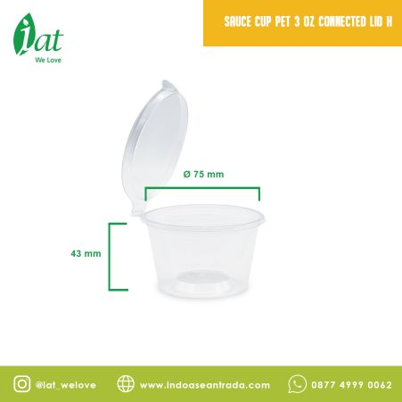 Take away dishes Sauce cup 3/4 oz Connected lid (120 ml) 1 sauce_cup_pet_3_oz_connected_lid_h